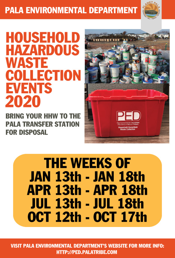 Pala Band California Environmental Department PED Planet Pala Hazardous Waste